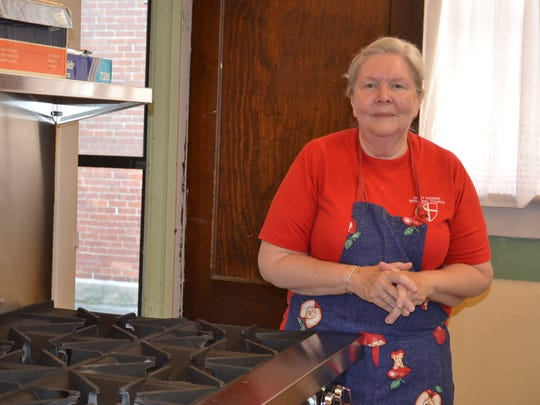 Debby Barnes, head cook of the ELMS meals, prepares enough food for 100 people each month. This year, she will be cooking on this new commercial range in the church kitchen.