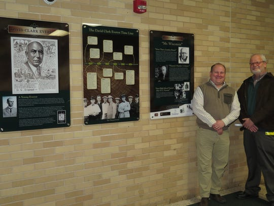 Andrew Becker of Becker Communications, who is a D.C. Everest alumnus, and Jon Goertz of Jon Goertz Design assisted with the layout and production of the three-panel mural.