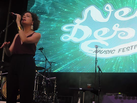 Grammy Award-winning Mexican singer-songwriter Natalia Lafourcade performs in 2016 on the Franklin Mountain Stage in Downtown during the Neon Desert Music Festival.