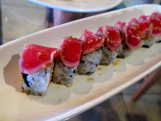 The Red Dragon Roll from Dragonfly Wine & Sushi Bistro,