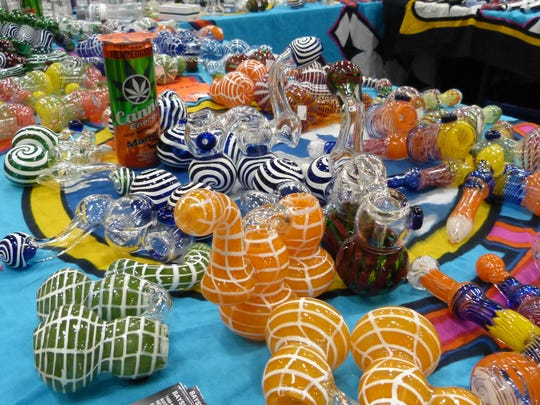 Various designs of glass pipes were on display at The Hemp and Cannabis Fair on Saturday.
