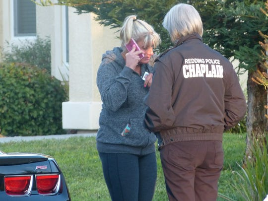 A Redding Police chaplain was at the scene to comfort the victim's family members.
