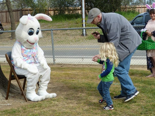 The Easter bunny greeted children at Volonte Park at Saturday's egg hunt in Anderson.