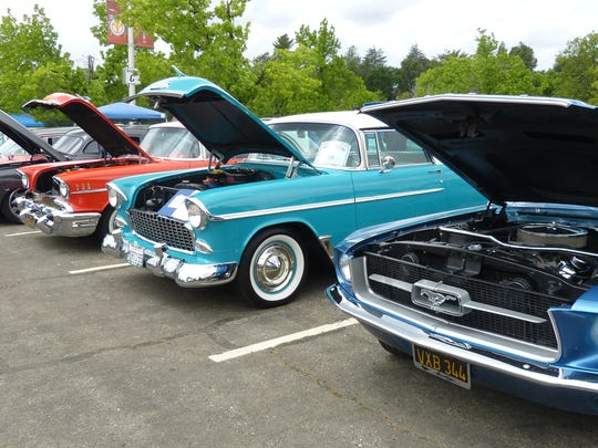 More car owners opted to park their cars on the asphalt at the Redding Civic Auditorium, instead of the wet grass.