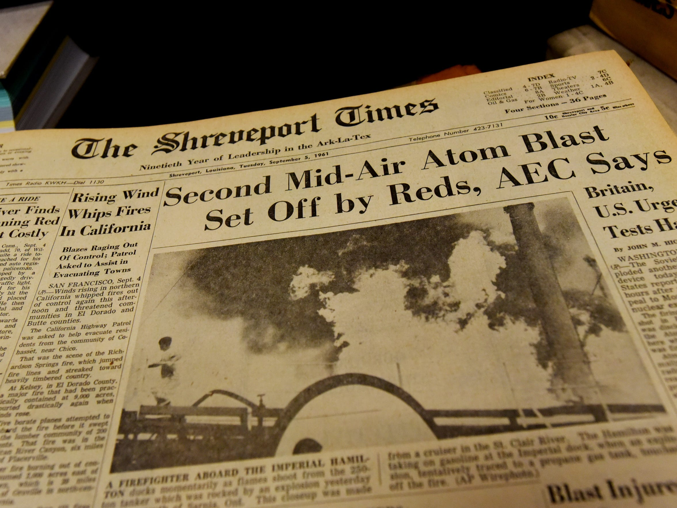 The A-1 story on the September 5, 1961 edition of The Shreveport Times.
