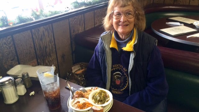 Diane Pegram, 71, comes from Arrington five to seven days a week to eat at Dotson's Restaurant in Franklin.