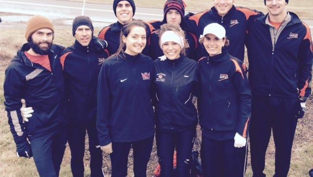 Runablaze Iowa members, front row, left to right: Casey McDermott, Emily Eimers, Erin Moeller. Back row, Tommy Ries, Scott Gall, Chris Robertson, Zach Baker, Nathan Hopp, Ben Jaskowiak.