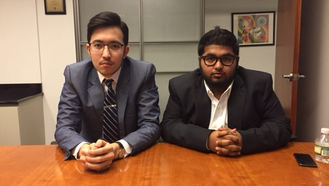 "Teenagers Damir Tulemaganbetov, left, and Mohammed Islam were interviewed in an article published in ""New York"" magazine falsely claiming that Islam had made millions in the stock market."