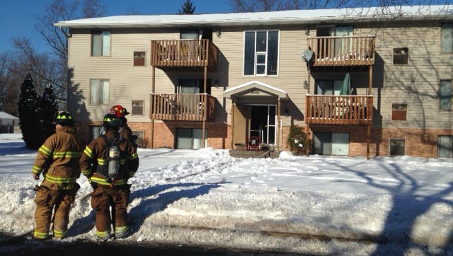 Springfield firefighters on the scene of a Tuesday afternoon apartment building fire on West Goguac Street.
