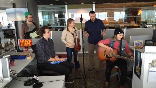 Abbie Morin and her band perform in the Burlington Free Press newsroom Thursday.