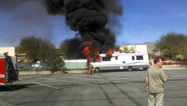 A motor home caught fire in a Desert Hot Springs parking lot Tuesday.
