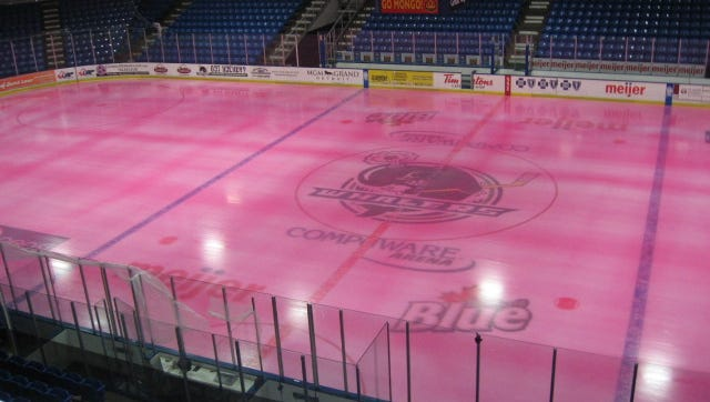 Pink ice at Compuware Arena. (It won't be this color on Saturday.)