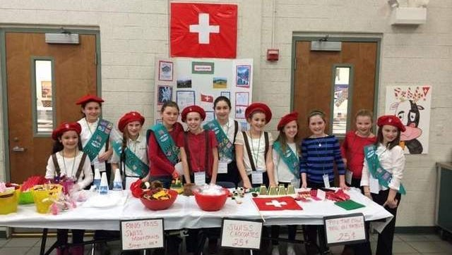 Girl Scouts of the Jersey Shore Junior Troop 1770 from Spring Lake represents Switzerland during a World Thinking Day Celebration event.