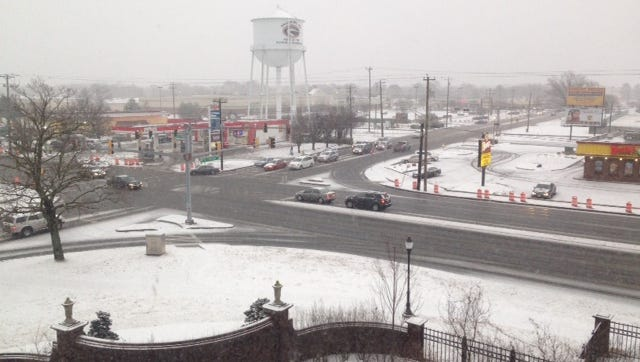 Snow and sleet covered the roads of Salisbury on Thursday. The area was expected to get 3-5 inches of snow and sleet for the day.