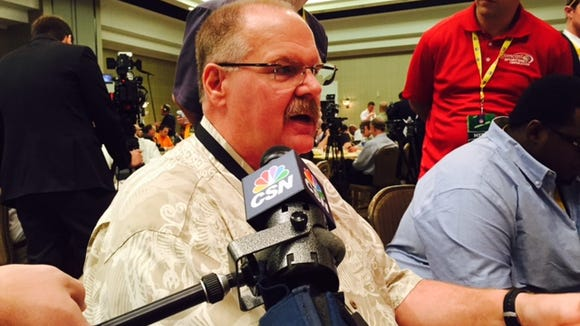 Ex-Eagles coach Andy Reid, now with Kansas City, at the NFL owners' meetings Tuesday.