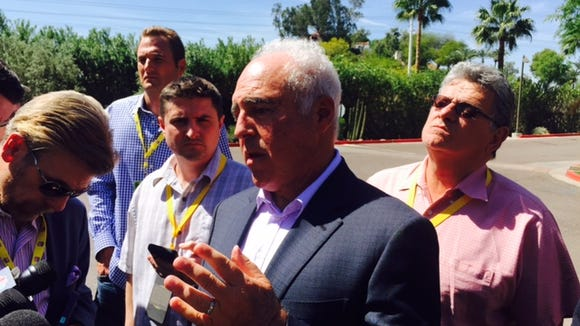 Eagles owner Jeffrey Lurie talks to the media at the NFL owners' meetings.