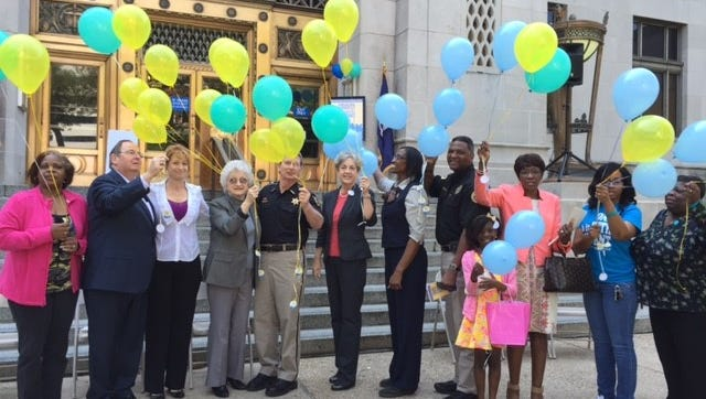 Balloons are released in honor of Crime Victims' Rights Week.