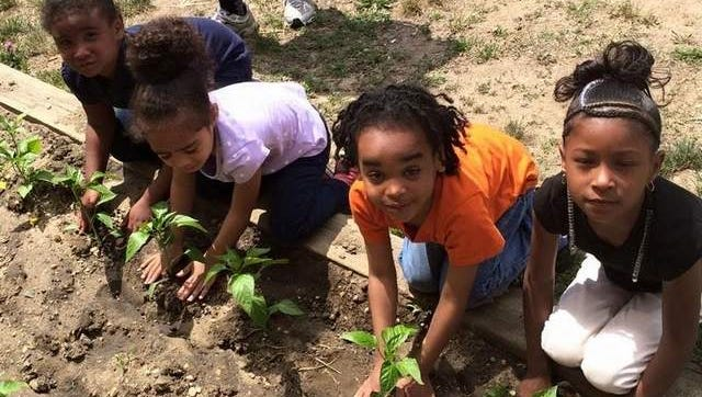 Thurgood Marshall preschoolers take a break from their daily routine to tend to their garden.