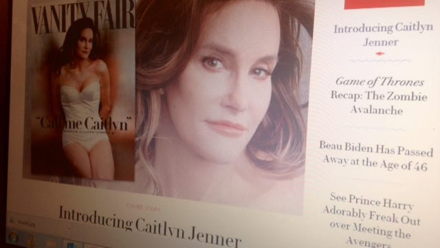 A screen shot of the Vanity Fair cover on which Bruce Jenner debuts as Caitlyn.