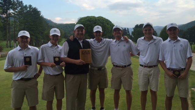 Jonathan Rector, third from right, and Christ School were the Carolinas Athletic Association golf champions this past season.