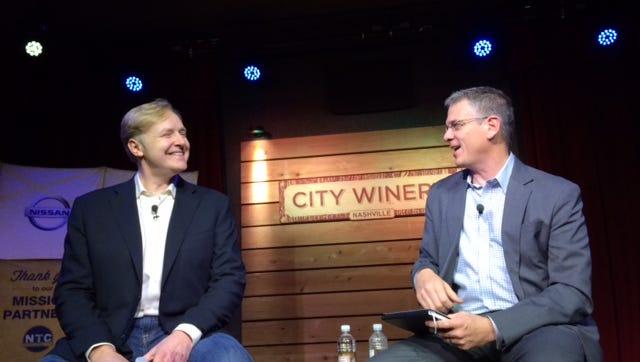 LinkedIn co-founder Allen Blue shares tech insights with Nashville Technology Council CEO Bryan Huddleston on Thursday.