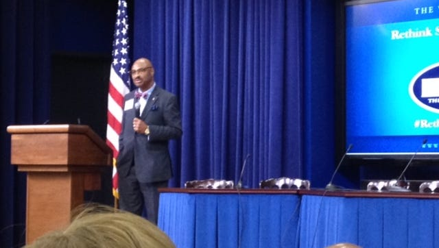 HPSD Superintendent James Bacchus presents at White House conference.