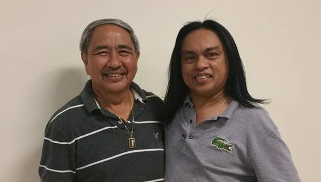 Joe Mafnas, left, and Manny Tagle smile after competing for the August Senior Bowler of the Month title Sunday.