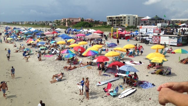 Dark clouds threaten over the NKF Surf Festival on Labor Day.