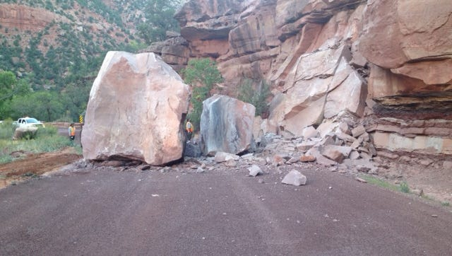 A large rock fall on the east side of Zion National Park has forced the closure of through traffic on state Route 9, Wednesday, Sept. 23, 2015.