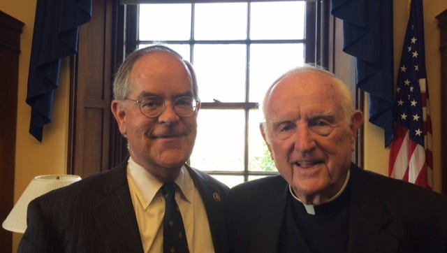U.S. Rep. Jim Cooper, D-Nashville, and Father Joseph Patrick Breen in Cooper's office on Capitol Hill after Thursday's speech by Pope Francis