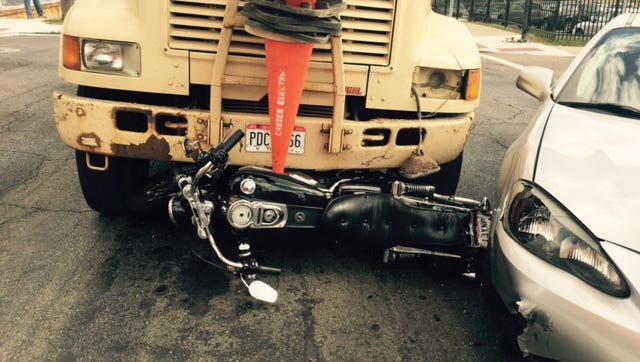 The driver of the motorcycle was transported to OhioHealth MedCentral Mansfield Hospital after this crash Monday at Second and Diamond streets. The truck driver ran a red light, Mansfield police say.