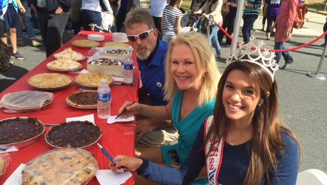 Pie tasting judges at Larchmont125 Street Festival.  Miss Westcheser Nadai Manginelli, Lis Wiehl and Norman Flint