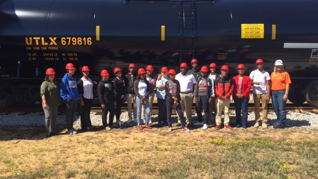 Local students tour Union Tank Car's facility at England Airpark last week as part of Manufacturing Day.