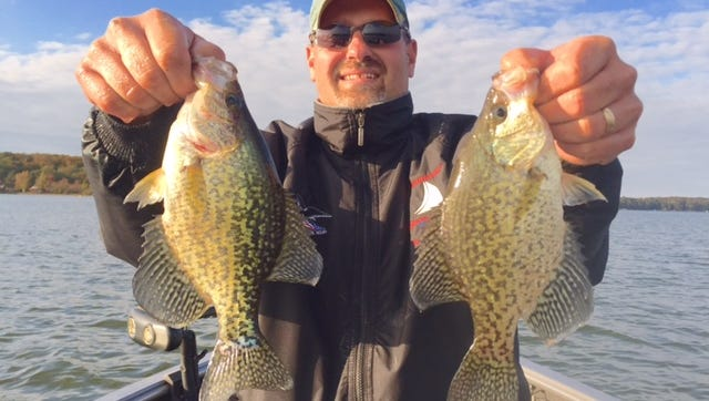 Stephen Frisco with a pair of nice Hayward area crappies.