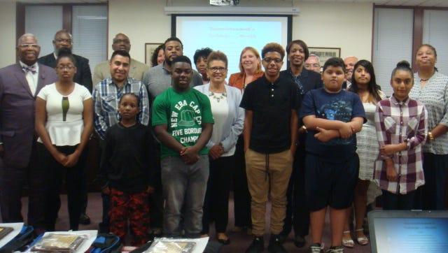 Bridgeton Public Schools Superintendent Thomasina Jones honored nine students at this month's Board of Education meeting.