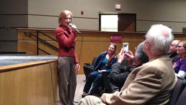 Carly Fiorina speaking at Grinnell High School Oct. 16, 2016.