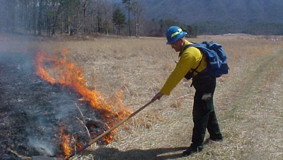 Fire management officials plan a controlled burn in