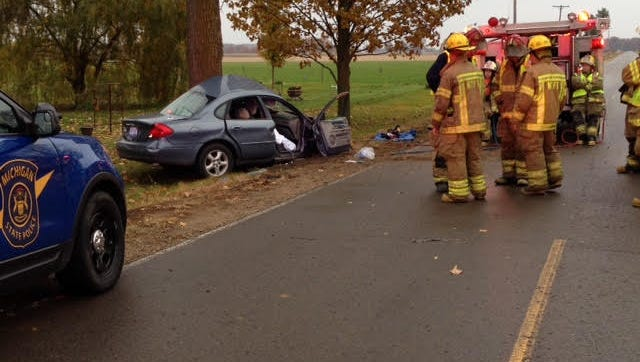 Scene of a fatal one-car crash Saturday morning on B Drive South in Newton Township