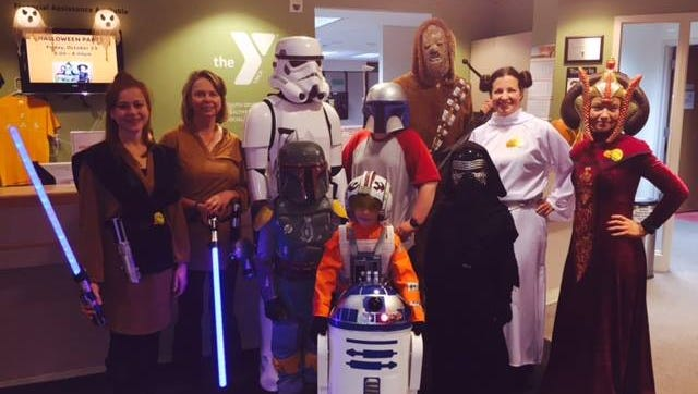 The annual Halloween Party at the Door County YMCA had a lot of people dress up in Star Wars costumes.