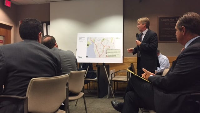 Sunshine Home traffic consultant John Canning presents the organization's plan to manage traffic while it constructs a 100,000-plus square foot addition.