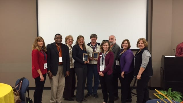 Greenville Technical College students and faculty members received awards at the South Carolina Association for Developmental Education conference held in October. Pictured (left to right) are James Williams, Kelly Mieszek, Crystal Pitrois, Mark Gollwitzer, Katie Stewart, Bill Parker, Jan Bishop,and JoAnn Myers.