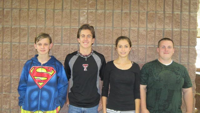 Mitchell Bolo - Freshman, Caleb Hightower - Sophomore, Adriana McWilliams - Junior, Justin Hall - Senior.
