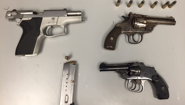 State Police say they seized these guns following a routine traffic stop on Wednesday night.