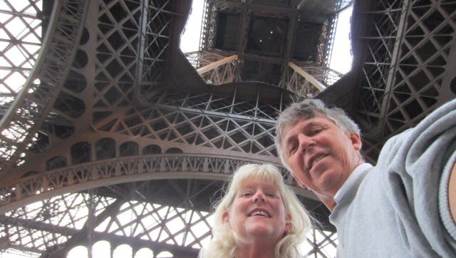 Camille with her husband Barry underneath the Eiffel Tower on July 22, 2011.