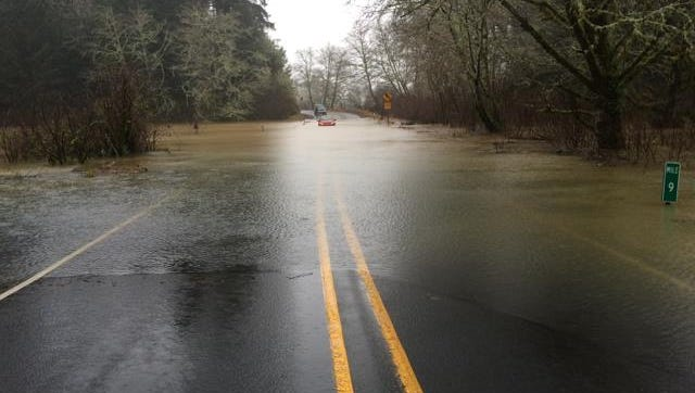Siletz River Highway is closed due to the flooding of the Coast Range river.