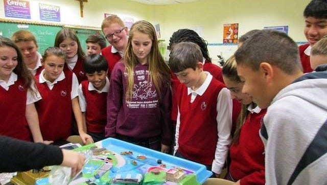 photo of some students with the enviroscape