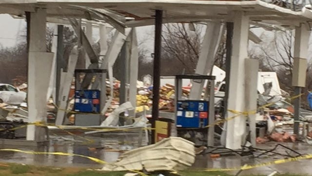 A photo of the service station in Texas that was destroyed in a tornado Saturday. The station was just a couple of miles from the home of Chillicothe native and retired Columbus news anchor Larry Roberts.