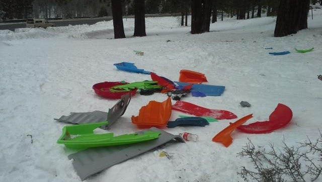 Discarded broken sleds at Spooner Summit.