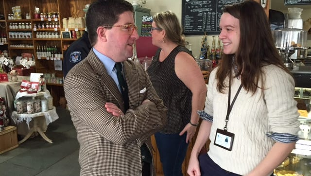 Consumer Experience Director Ed Forbes chats with Christina Viitolo of Center for Safety and Change during the Lohud Coffee Chat  at Red Hill Cafe in New City