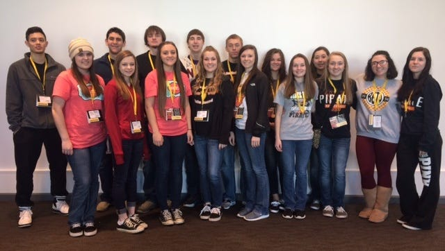The Calico Rock Senior Beta Club recently attended the State Beta Convention and competition in Hot Springs. Sixteen members competed in various categories, including several academic competitions and the banner competition. Shown, back row from left, Bryan Parnell, Graham Knight, Kaleb Newcomb, Bruce Chandler, Hunter Johnson, Johnna Long and Jaclyn Hamby. Front, Casey Shaw, Kenlee Killian, Kimberly Wooten, Katie Hamby, Timi Lynn Killian, Kallie Fry, Megan Hiles, Camron Holowell, and Madison Deen.